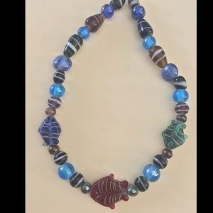 Jewelry - Glass beaded necklace with fish 🐠