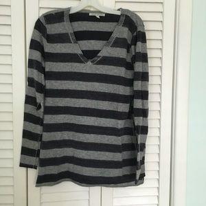 Autumn Cashmere Tops - Autumn cashmere striped v-neck sweater