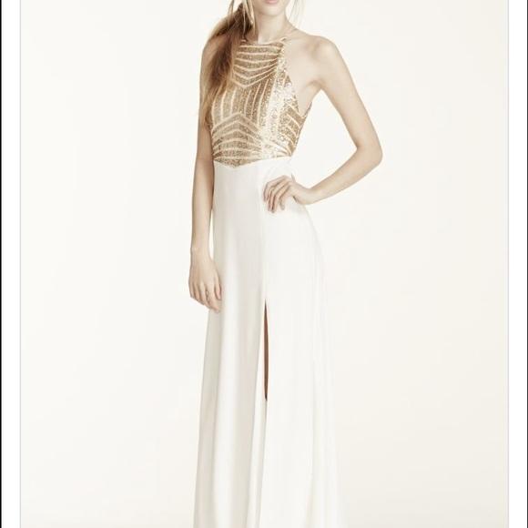 David\'s Bridal Dresses | Davids Bridal White And Gold Prom Dress ...