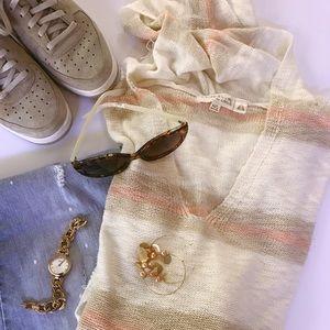 SALE Knit Fringe Hoodie Poncho