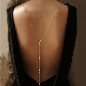 Long Y-Shaped Delicate Thin Gold Chain Necklace
