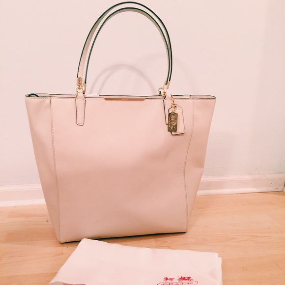 4960d53ae2 ... norway coach madison saffiano north south tote in cream 60af5 c1c81