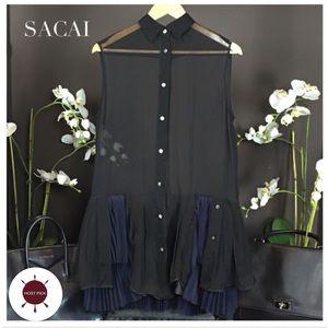 Sacai Dresses & Skirts - 🎉 HOST PICK SACAI BLUE SILK DRESS TOP