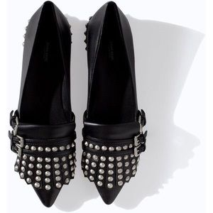 Zara Shoes - Zara Pointed Leather Flats with Studs