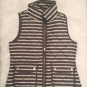 Outerwear - Olive and cream striped puffer vest