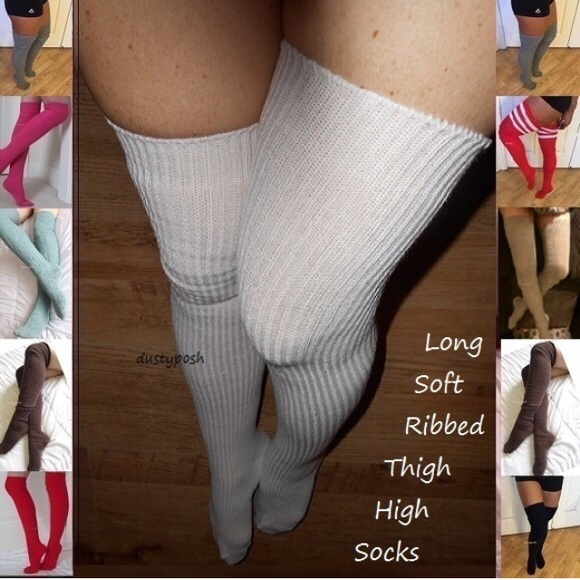 934b64a8154 Long Ribbed Thigh High Over The Knee Socks Cable