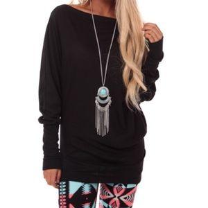 ❗️CLEARANCE❗️ Black Dolman Tunic Top S M L