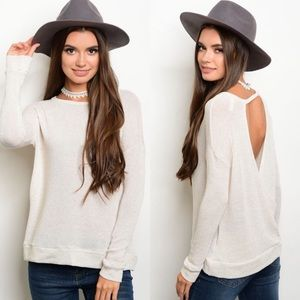 CLEARANCE Cream Wrap Back Lightweight Sweater