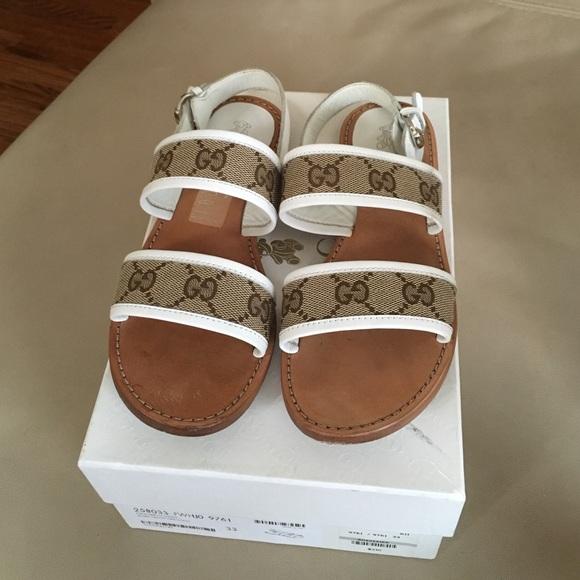 Girls Gucci Sandal orig GG EUR 33 US 2.5 beige/wht