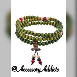 •Wooden Layers• Mala Bracelet (Green Edition)