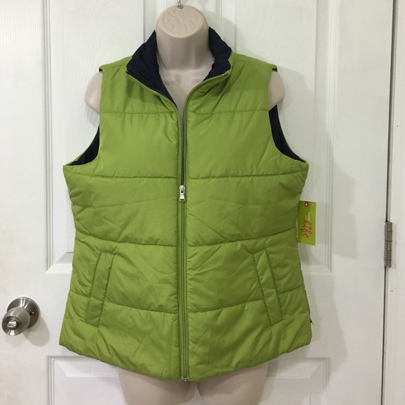 3e40590c861 NWT Green Polyester Winter Puffy Vest