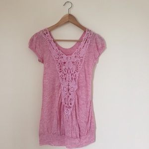 Gaby Tops - Lace Back Baby Pink Top