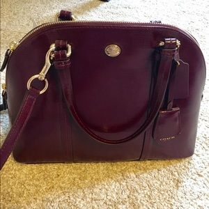 COACH Peyton Leather Cora Domed Satchel Handbag
