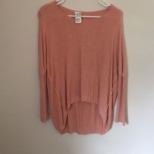 Sweaters - Pink high low button back sweater