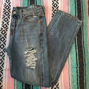 gap distressed bf jeans