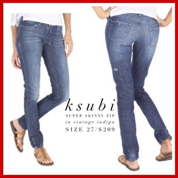 063582440e Ksubi Denim - ksubi👖Super Skinny Zip in Vintage Indigo Wash