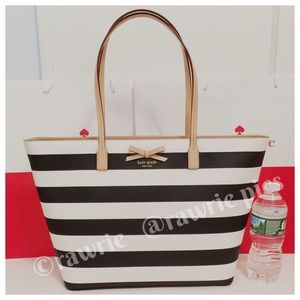 SALE New Kate Spade large striped travel zip tote