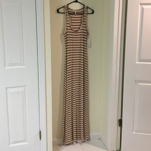 NWT Cream and Maroon Striped Maxi Dress