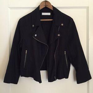 Zara Jackets & Blazers - Black Linen Cropped Moto Biker Jacket