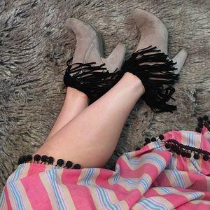 Black fringe boot socks