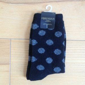 Forever 21 wool blend black grey polka dot socks
