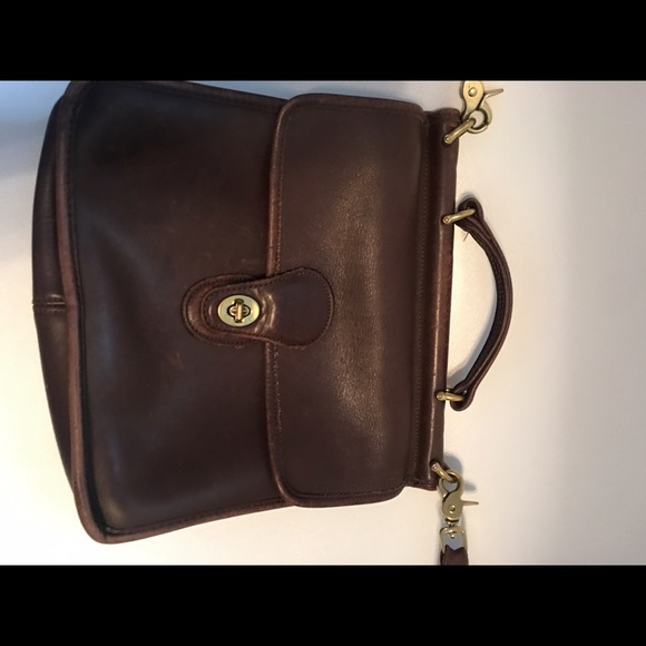 87% off Coach Handbags - Vintage Coach Dark Brown Leather handbag ...