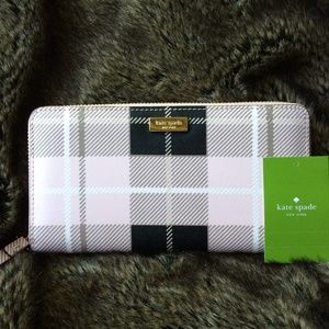 NWT Kate Spade pink and black wallet
