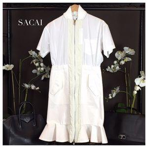 Sacai Dresses & Skirts - Sacai White Short Sleeve Jacket Dress