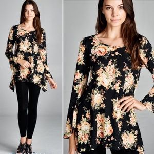 Tops - S-L Floral Tunic Top