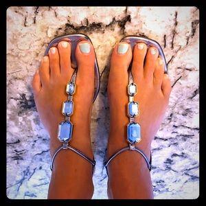 Prada blue jeweled sandals. Size 38 1/2 (8.5)