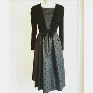 Vintage Velvet & Taffeta Polkadot Dress