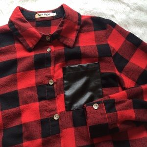 New Light Tops - Black and Red Plaid Faux Leather Pocket Flannel