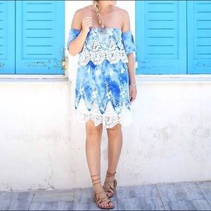 Blue Tie Dye & White Lace Off The Shoulder Dress