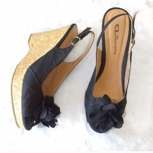 Chinese Laundry Shoes - Chinese Laundry Black Floral Open Toe Cork Wedges