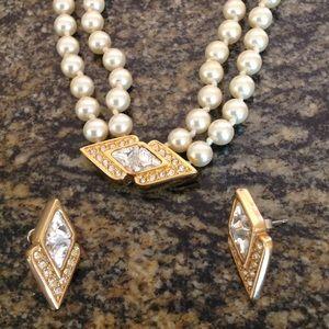 VIntage Swarovski SAL stamped necklace earring set