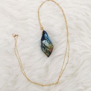 Iridescent Stone Long Thin Dainty Chain Necklace