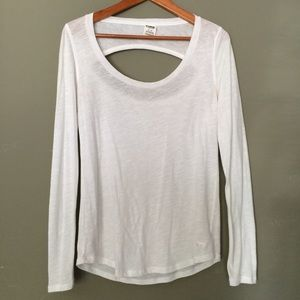 PINK Victoria's Secret Tops - Pink VS White Open Back Crew Neck Long Sleeve