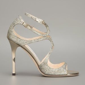 Jimmy Choo Lang Metallic glitter strappy sandal