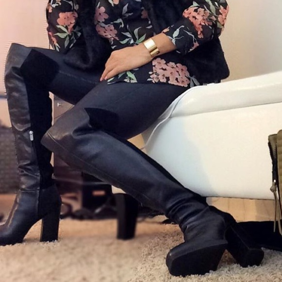 9dc0a8d530f4c Black over knee leather boots