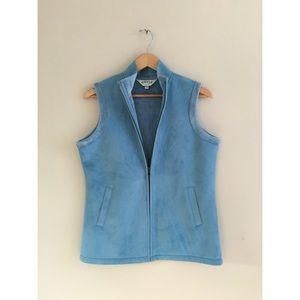 Orvis Jackets & Blazers - Vintage baby sky blue faux suede soft winter vest