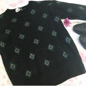 Vintage Geometric Wool 80s Sweater