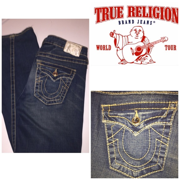 1044a6ed2 Rhinestone Gold Stitch True Religion Jeans. M 57d345de4e95a349ba000bae