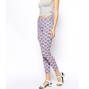 ASOS Purple Baroque Ankle Cigarette Floral Pants