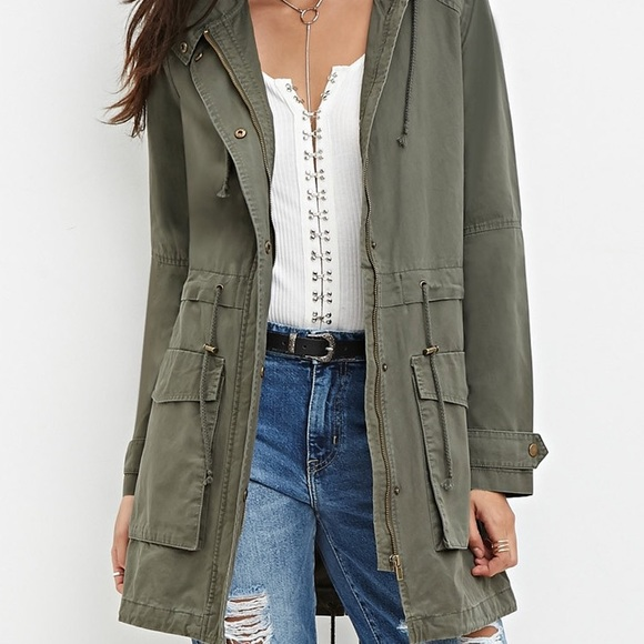 29% off Jackets & Blazers - Olive green long utility jacket from ...