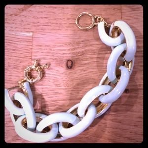 Jade enamel linked bracelet