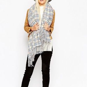 Oversized Scarf Pastel Tweed Plaid With Tassels