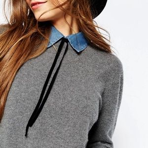 ASOS Accessories - ASOS Denim Bib With Black Velvet Tie