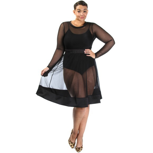 Plus Size Long Sleeve All Mesh Flared Skater Dress Boutique
