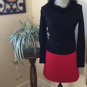 Black Sweater  Top with Feather Collar