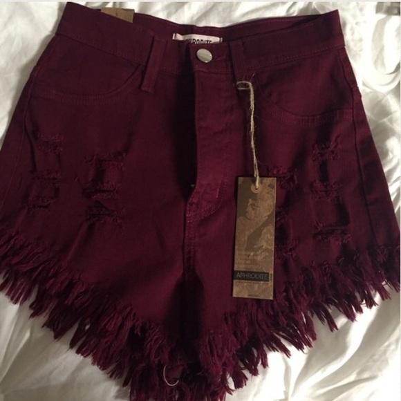 49% off Fashion Nova Pants - burgundy high waisted shorts from ...